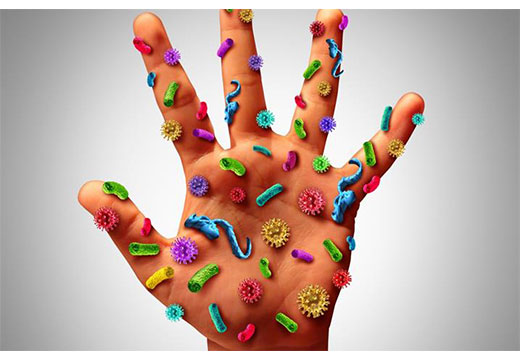 Ладонь с заразными вирусами