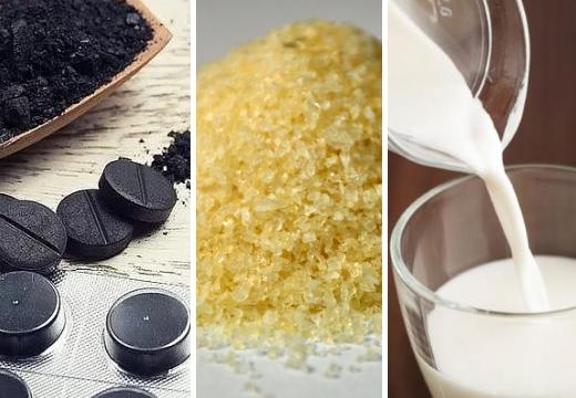 активированный уголь желатин молоко